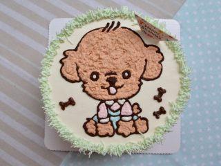 泰迪手绘蛋糕,完成
