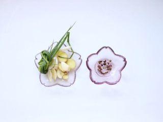 香辣口水鸡,辅料:葱姜蒜、花椒