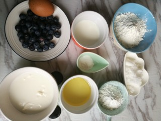 蓝莓酸奶酥粒麦芬,蛋糕材料。