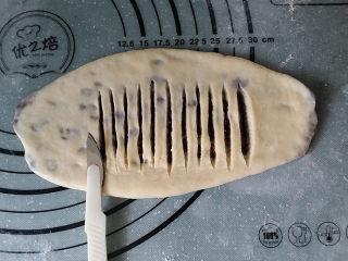 豆沙花瓣面包,用小刀在中间划开多条刀口,且不要划断底部面皮
