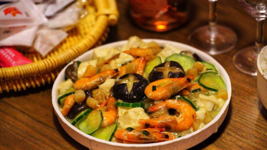 干贝豆腐烩鲜虾