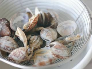 花蛤蒸蛋,捞出的花蛤沥干水分。