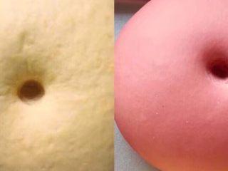 双色花馒头,这是发酵好的样子,体积2倍大,手指戳一个洞,洞口,不回缩不变形。