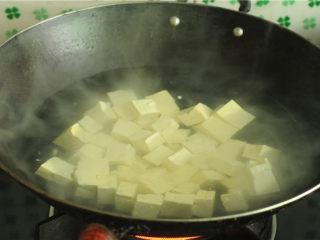 红烧豆腐,烧开一锅水,将豆腐丁倒进去汆烫
