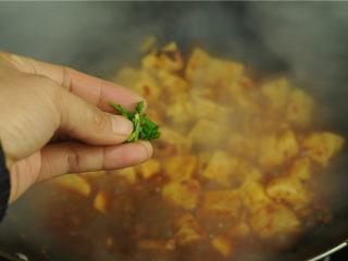 红烧豆腐,撒上麻椒碎末和葱花即可