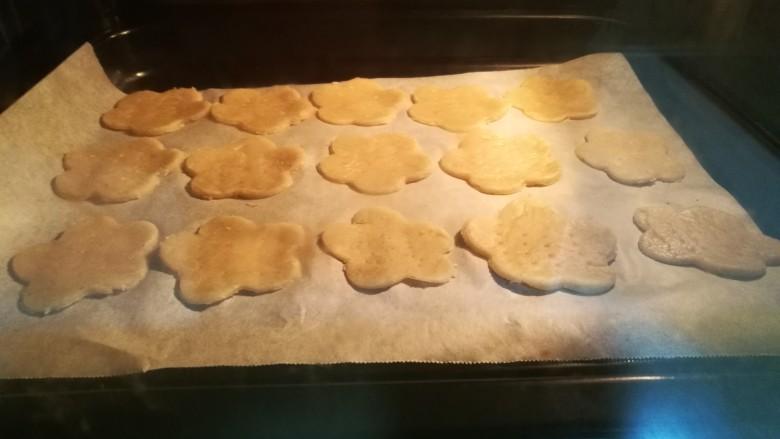 健脾去湿,茯苓山药苏打饼干,烤箱上下火135度预热十分钟。取出面皮,用饼干模取形状,用叉子叉出小孔。放入烤箱中,上下火135度烤制30-35分钟。