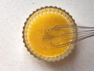 洋葱馒头煎鸡蛋,用手动打蛋器搅打均匀,可以打得久一些