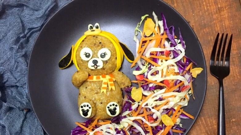 狗熊饭团  紫甘蓝圆白菜胡萝卜 黑芝麻酱海苔