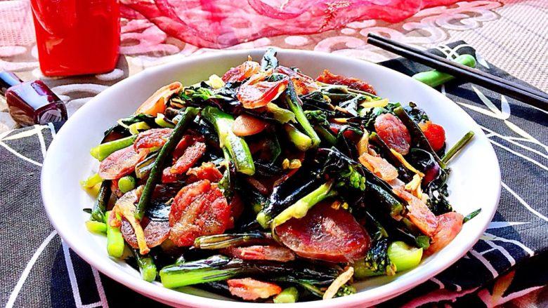 我爱家乡菜系列➕紫菜苔炒香肠