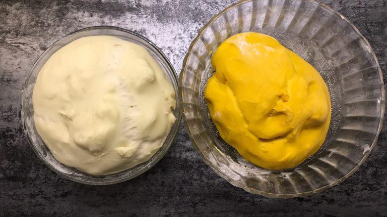南瓜双色馒头,发酵至两倍大取出
