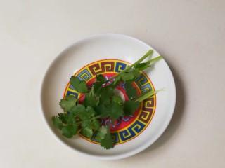 年味+春光乍泄香菜杂粮米糊,香菜清洗干净沥干水