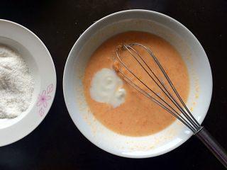 木瓜椰蓉奶冻,加入酸奶,搅拌均匀。