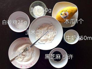 木瓜椰蓉奶冻,准备材料。木瓜中等大小即可。