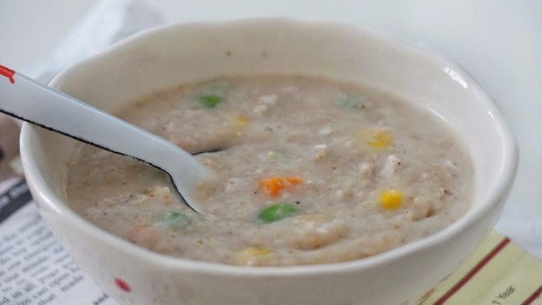 瘦肉杂蔬麦麸粥