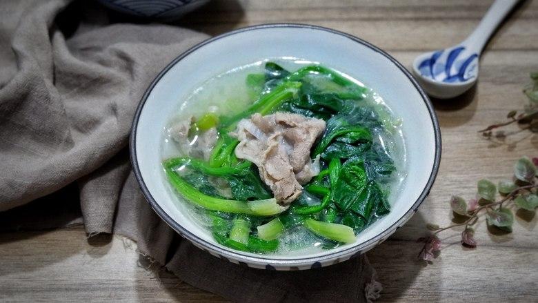 原汁原味羊肉卷菠菜汤