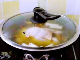 盐焗鸡,盖上锅盖大火煮沸后