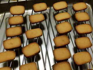 炼乳小饼干(适合新手),烤至表面金黄后取出晾凉,约十分钟左右,时间不固定,切的厚度和温度偏差都对时间有影响,以表面上色为准