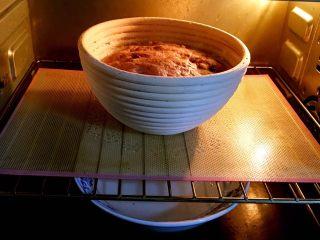 粗粮健康面包,送入烤箱二次发酵,同样底部放热水,30分钟更换一次热水。发酵时间60分钟。