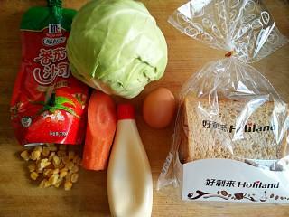 沼三明治,准备食材。买了好利来的全麦吐司切片。