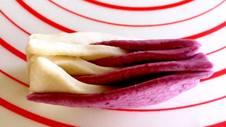 双色花卷~让孩子爱上吃饭,把面团立起来(两只手向上)