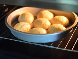 扁桃仁餐包,放入烤箱,进行第二次发酵,35度,45分钟