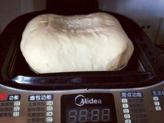 香葱培根芝士面包,发酵好的面团已经满桶啦!