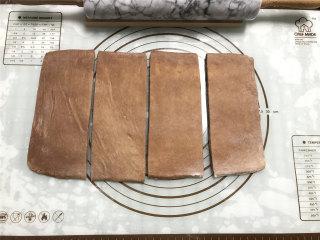 网红脏脏包,擀成长片第四次,两端切掉不规则面皮,分成四等份,每一份尺寸为8CM*20CM)