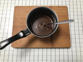 网红脏脏包,淡奶油倒入奶锅加热后,放入黑巧,搅拌至巧克力完全融化成细腻的甘纳许。