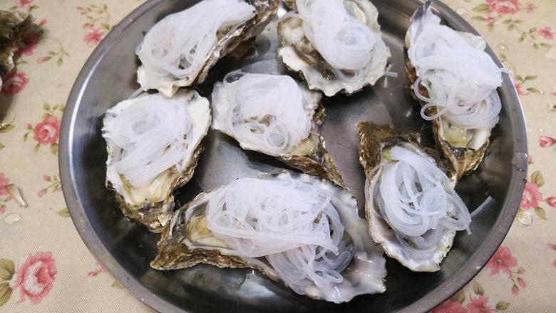 蒜蓉生蚝,将泡发好的粉丝放在去壳的生蚝上