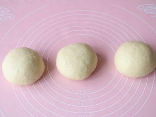 葡萄干吐司,取出排气后,分成均匀的3等分;
