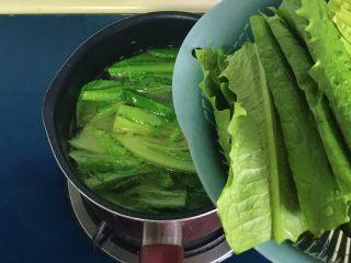 原汁鸡汤焯凤尾菜,再放入菜叶部分煮开即可关火出锅