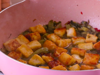 酸菜豆腐,水开之后放入豆腐块