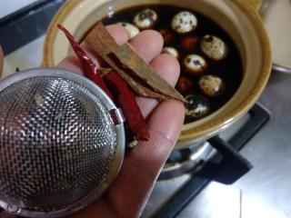 辣味卤鹌鹑蛋,把各项调料放入锅里,也可以把这些调料先用水煮一下,让味道渗入到水里,然后再放蛋进去。