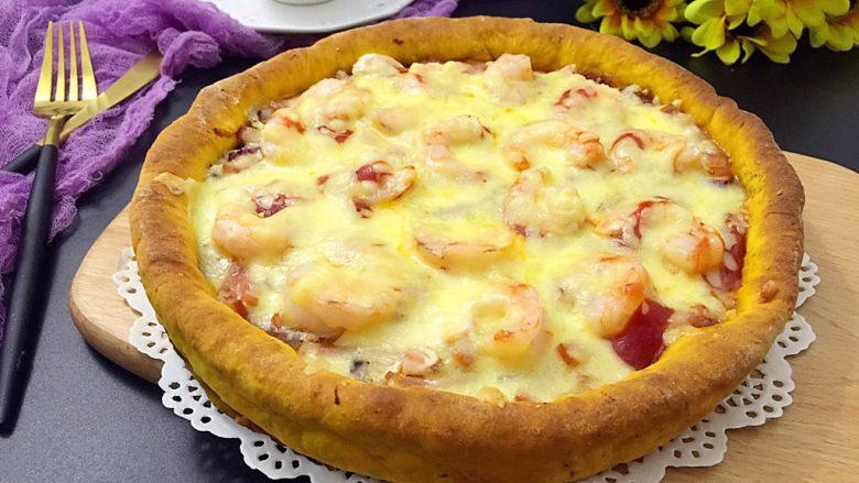 南瓜虾仁培根披萨