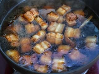 红烧肉,添入热水没过锅中食材,大火煮开后改中小火炖煮45分钟