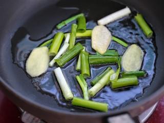 红烧肉,另起锅放适量油烧至五成热,小火炒香葱段和姜片