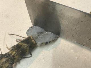 花开富贵虾,用刀背敲几下,这样能够断筋,蒸的时候虾才不会卷起来
