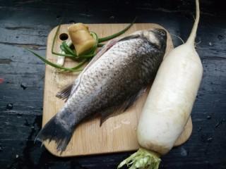 鲫鱼萝卜汤,准备材料:鲫鱼杀了清洗干净,一根萝卜,两棵葱,一小段生姜!