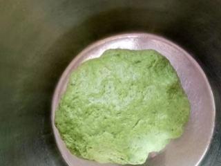 菠菜南瓜双色蝴蝶花卷,和成了绿色的面团