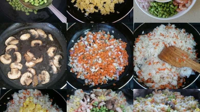 虾仁炒饭,一目了然的步骤图。