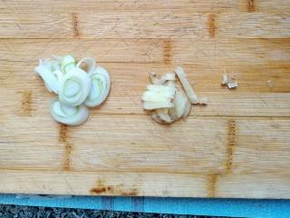 西红柿炖牛肉,葱,姜切碎用来炝锅。