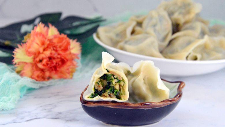 三鲜馅水饺,虾肉嫩滑,春天很适合吃韭菜,三鲜馅是最佳选择