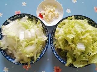快炒+营养+美味的蚝油小白菜,蒜切片,小白菜斜刀切片,将白菜叶和白菜帮分开放置。
