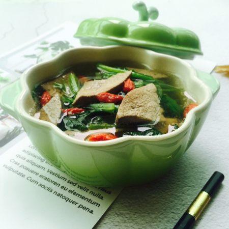 春季养生汤~枸杞菠菜猪肝汤