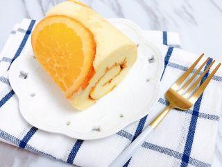 橙香蛋糕卷,切块开吃