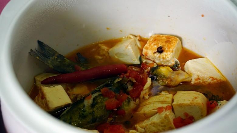 酸辣番茄豆腐鱼,用隔水炖再炖半小时即可。