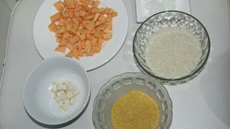 地瓜山药粥,所有的材料准备齐全