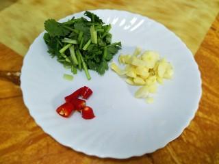 酸汤鱼,辣椒切段,蒜头切小块。香菜切小段