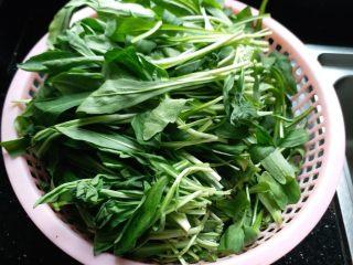 香干拌马兰,马兰摘去黄叶,用剪刀剪去老的根。