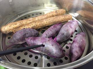 紫薯苹果球&山药🍎球,能用筷子轻松戳进去就熟了